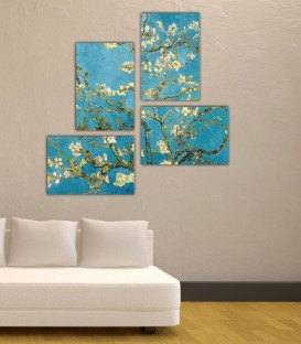 Van Gogh Blossoming Almond Tree 4 Parça Tablo