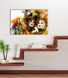Two Venice Mask Canvas Tablo