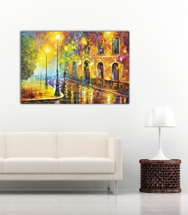 Afremov Rainy Street Kanvas Tablo