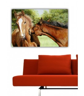Horse Kiss Canvas Tablo